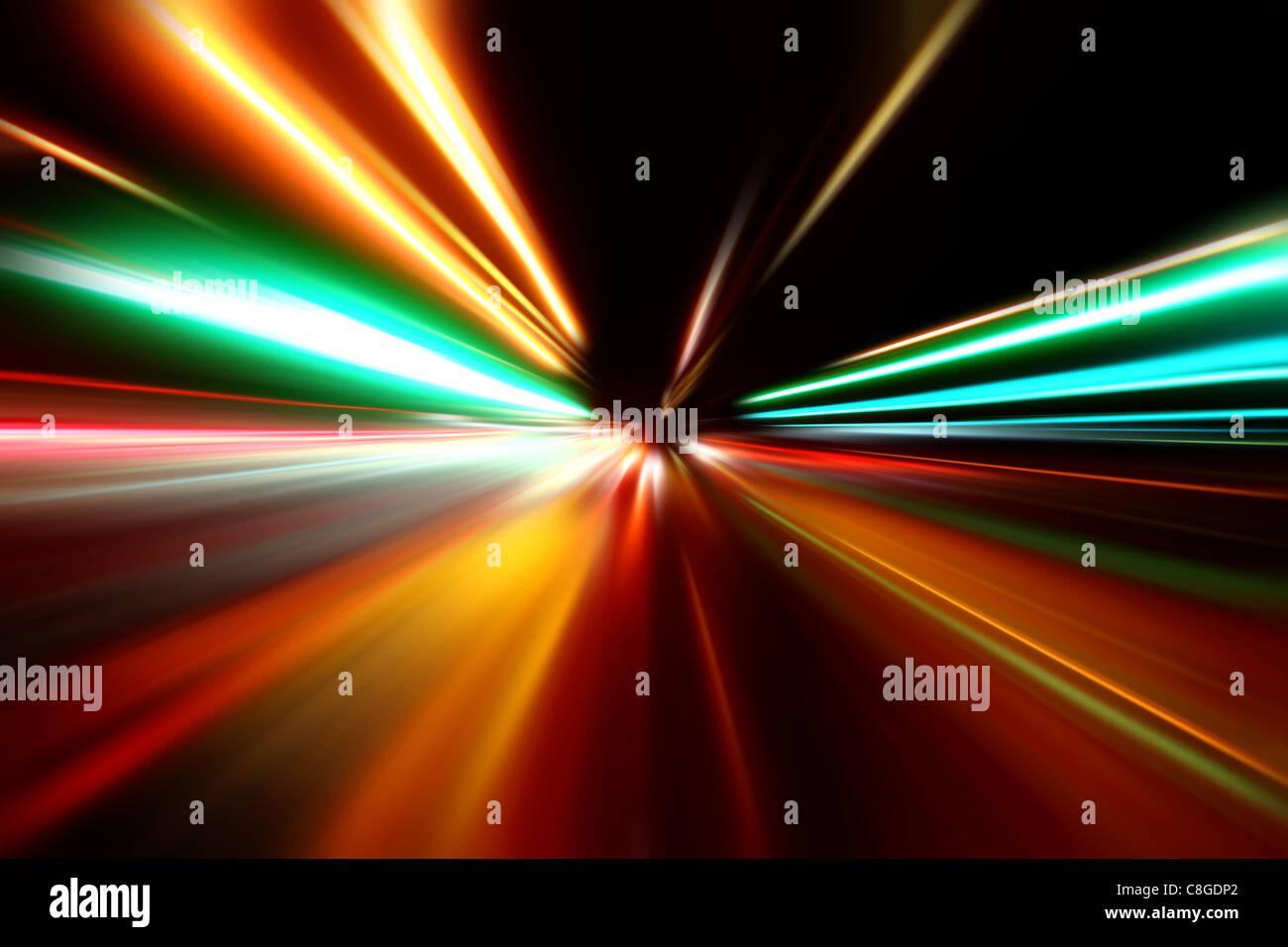 La vitesse d'accélération abstraite motion sur la route de nuit Photo Stock