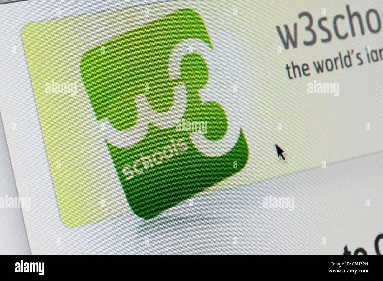 De près de l'logo W3Schools comme vu sur son site web. (Usage éditorial uniquement: -Print, télévision, e-book et le comité éditorial du site). Banque D'Images