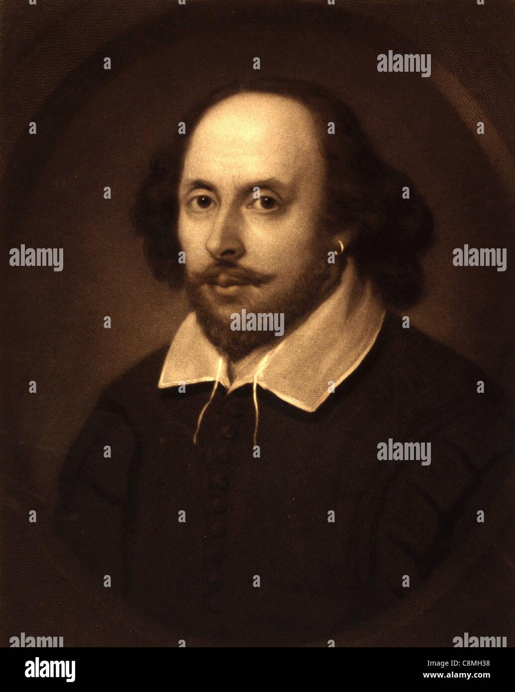 William Shakespeare, poète et dramaturge anglais. Portrait de William Shakespeare Banque D'Images