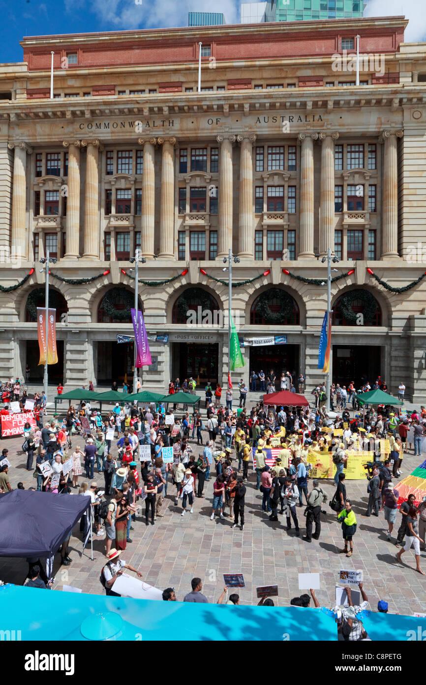 La protestation s'est tenue à Perth occupent de coïncider avec le début de CHOGM 2011. Perth, Photo Stock