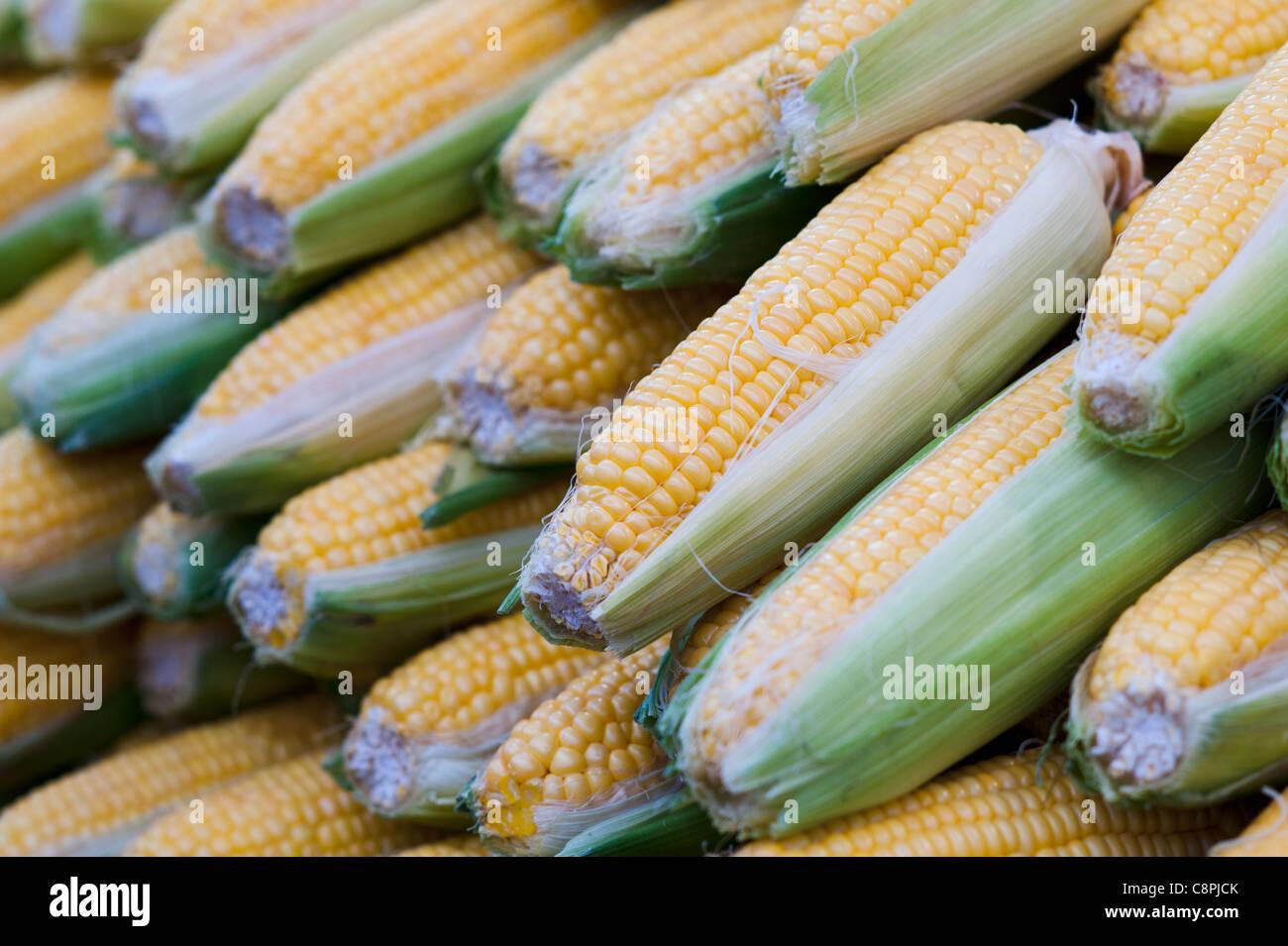 Le maïs dans un stand alimentaire sur le marché. Photo Stock
