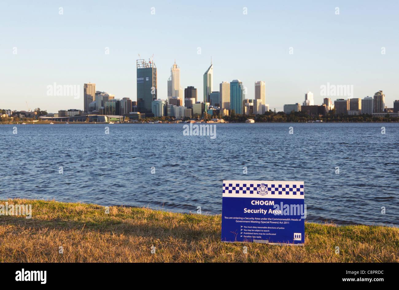 Zone de sécurité signe de la police du Commonwealth Photo Stock