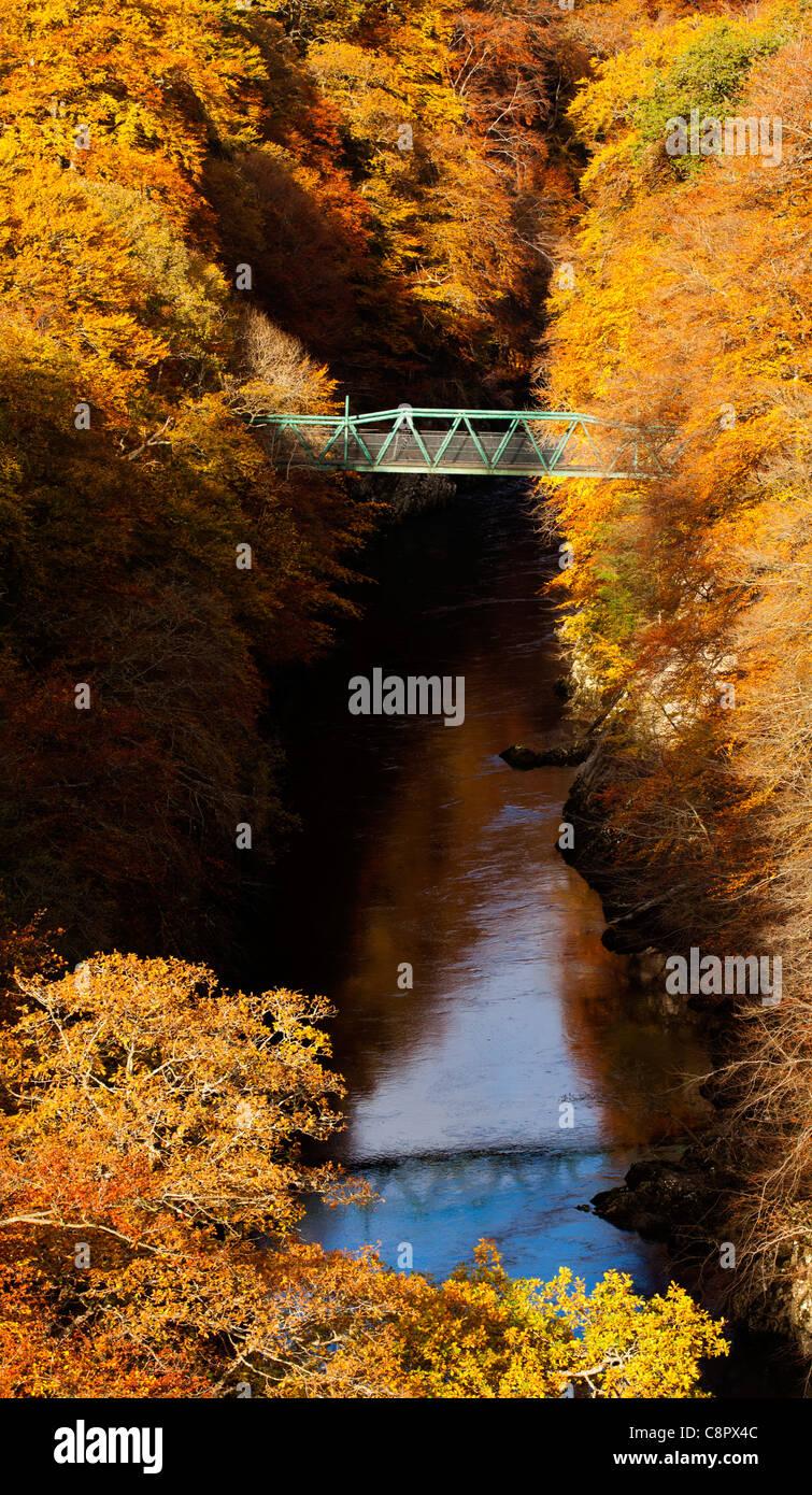 Rivière Garry et pont vert entouré d'automne couleur de buisson pouvant atteindre 12-15 pieds et de pins, col de Banque D'Images