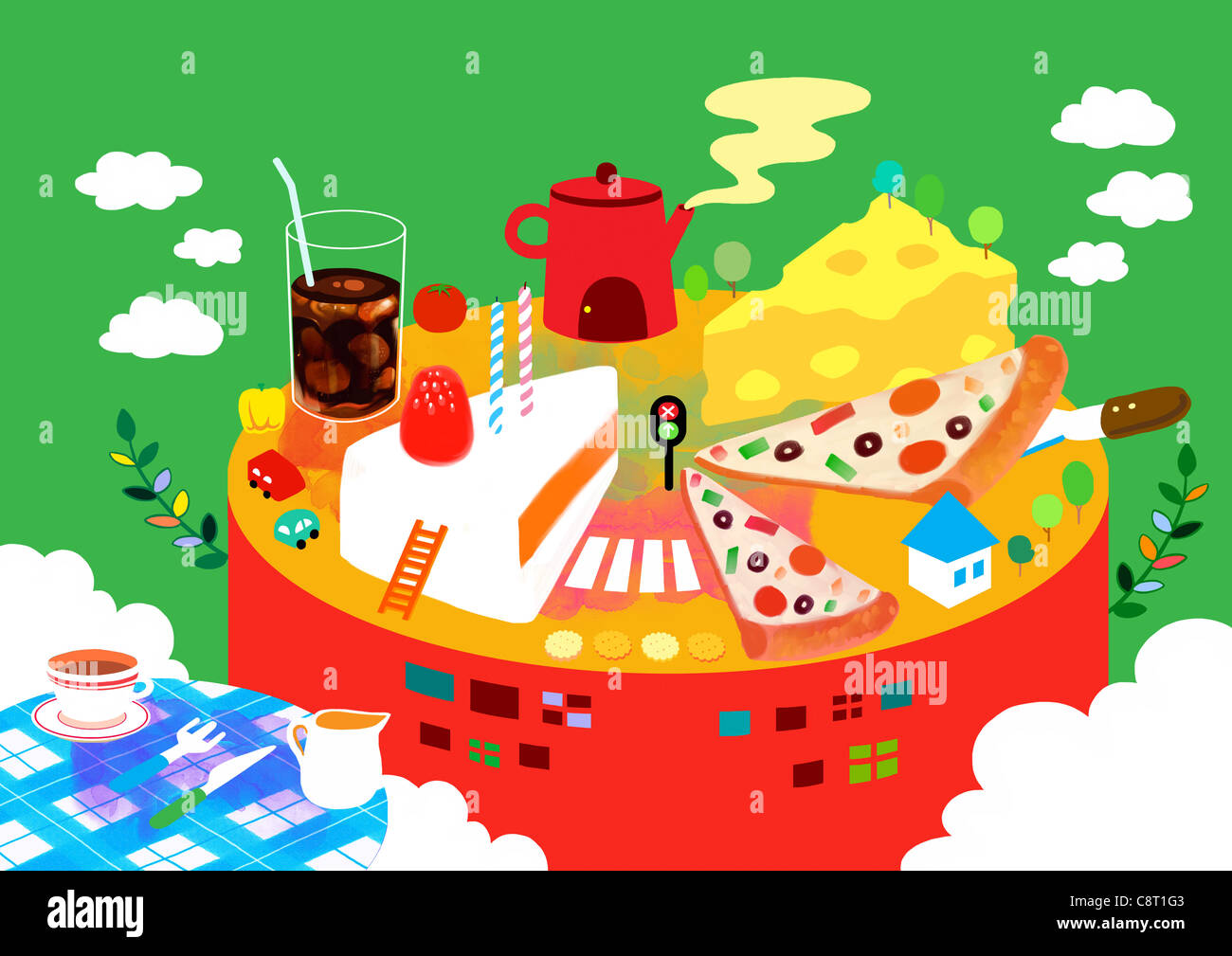 Pizza, cake, Fromage Coupe avec boisson froide Photo Stock