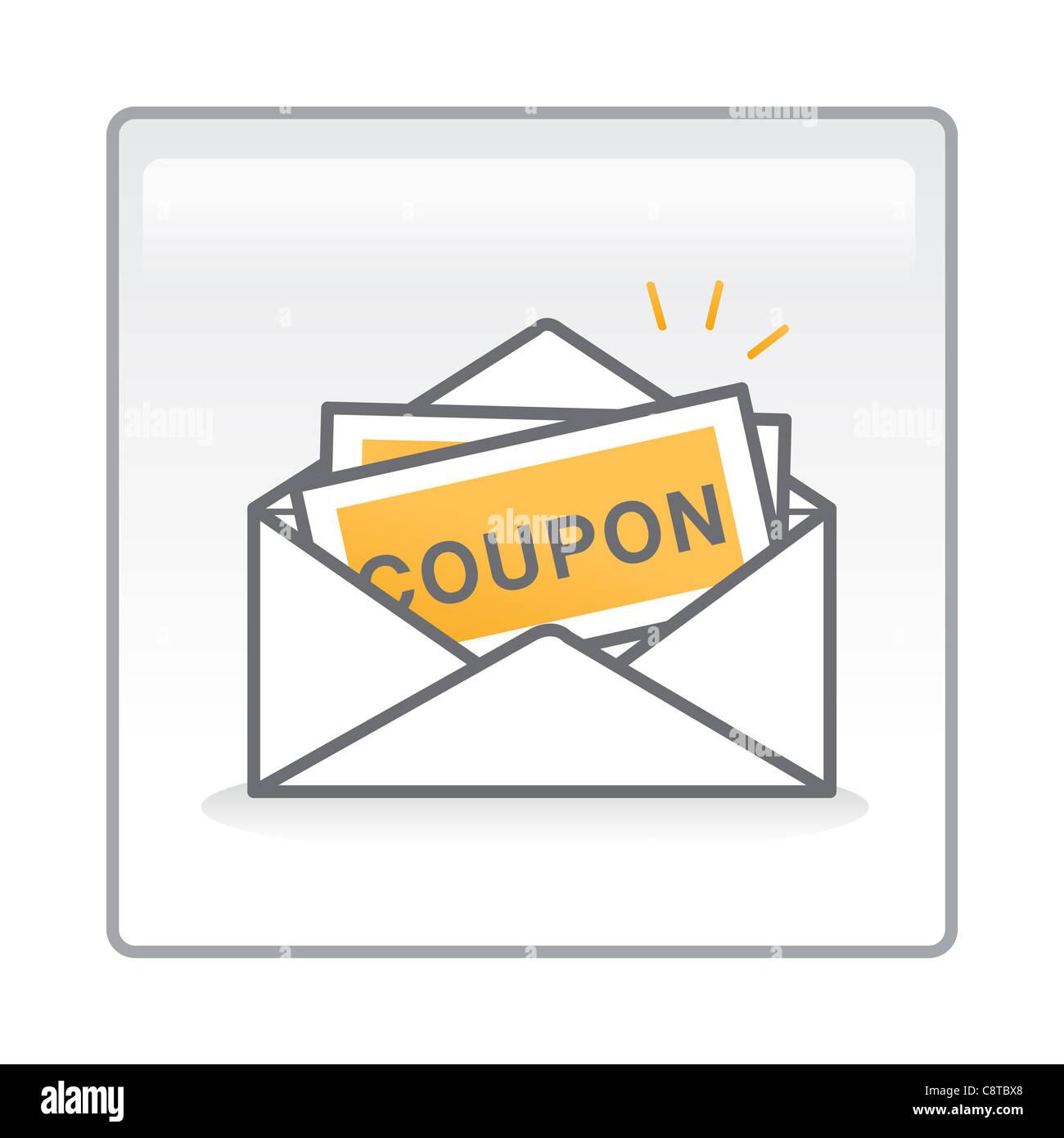 Illustration de coupons dans une enveloppe Photo Stock