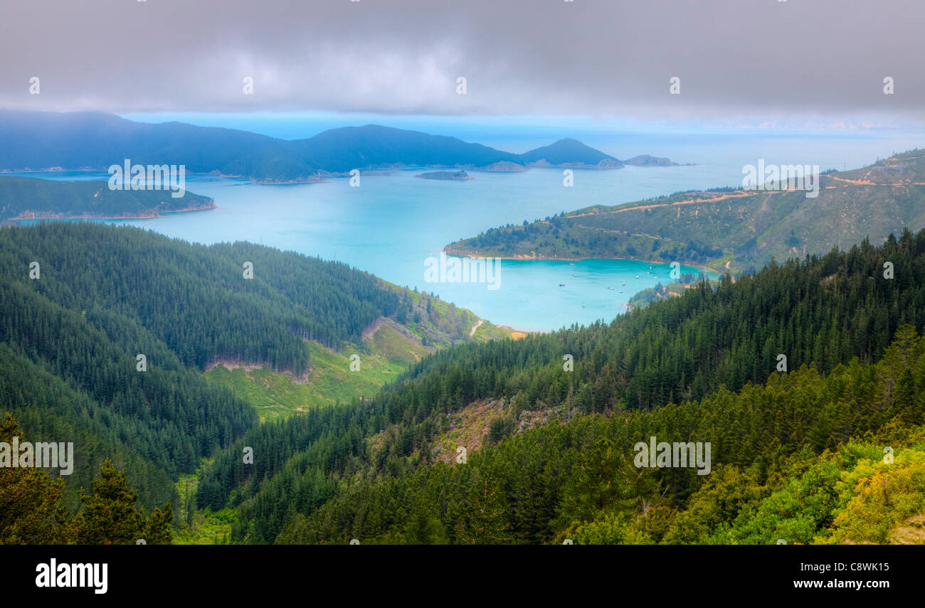 Bird's Eye View of Oyster Bay près de Picton en Nouvelle Zélande Photo Stock