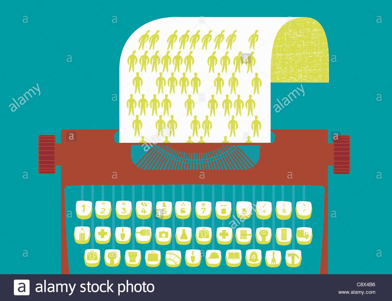 Machine à écrire avec des touches graphiques représentant les professions Banque D'Images