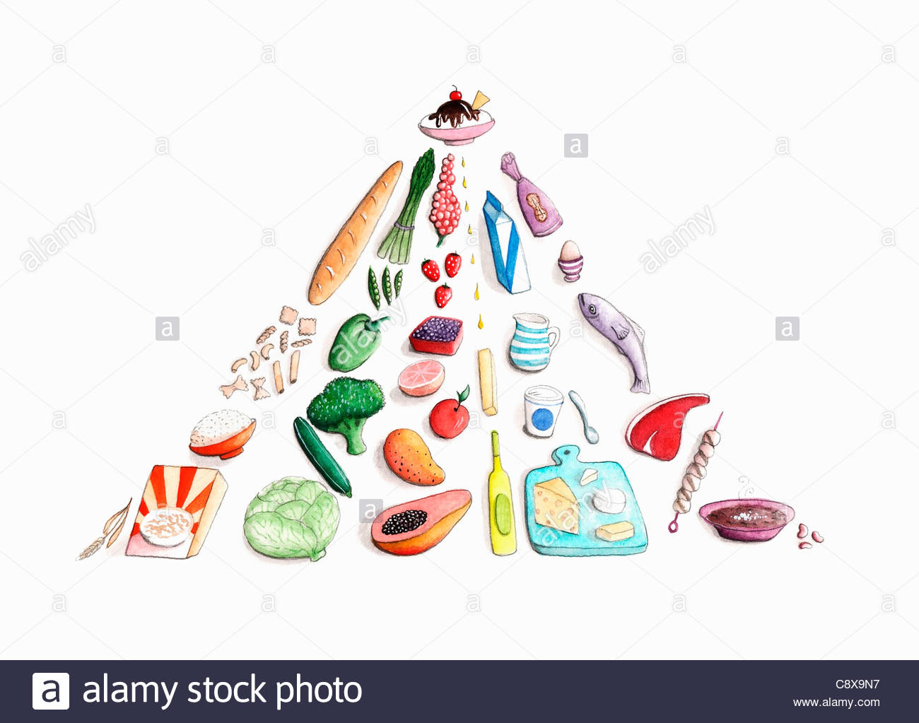 Foods disposés en pyramide Photo Stock