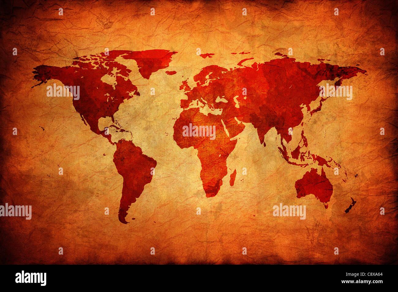 Carte du monde dans une vieille toile. Photo Stock