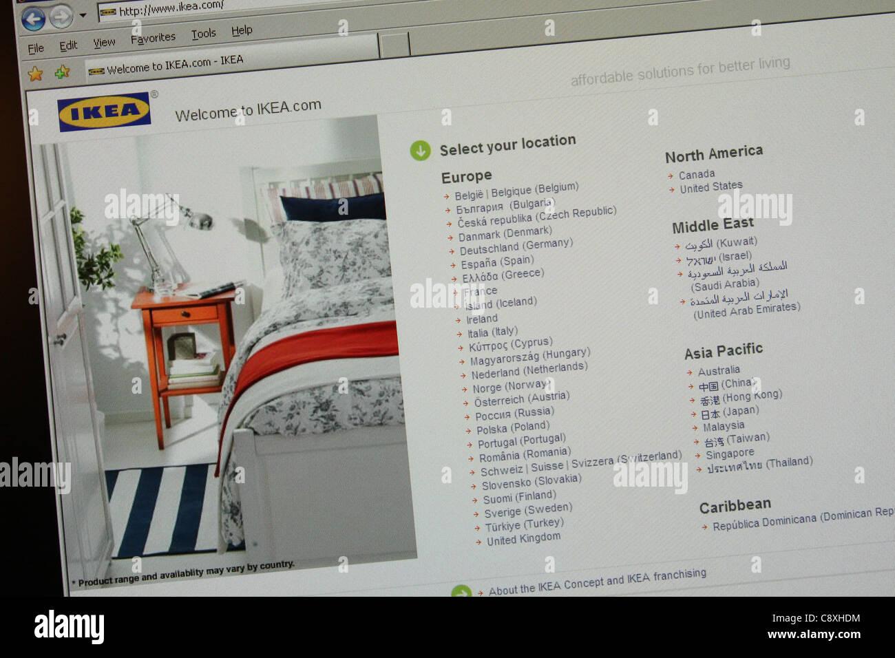Détaillant de meubles IKEA Site web dans le monde entier Photo Stock