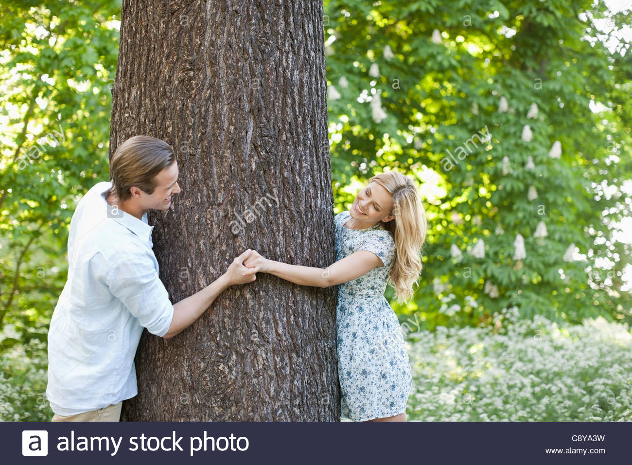 Couple holding hands autour de tree Photo Stock