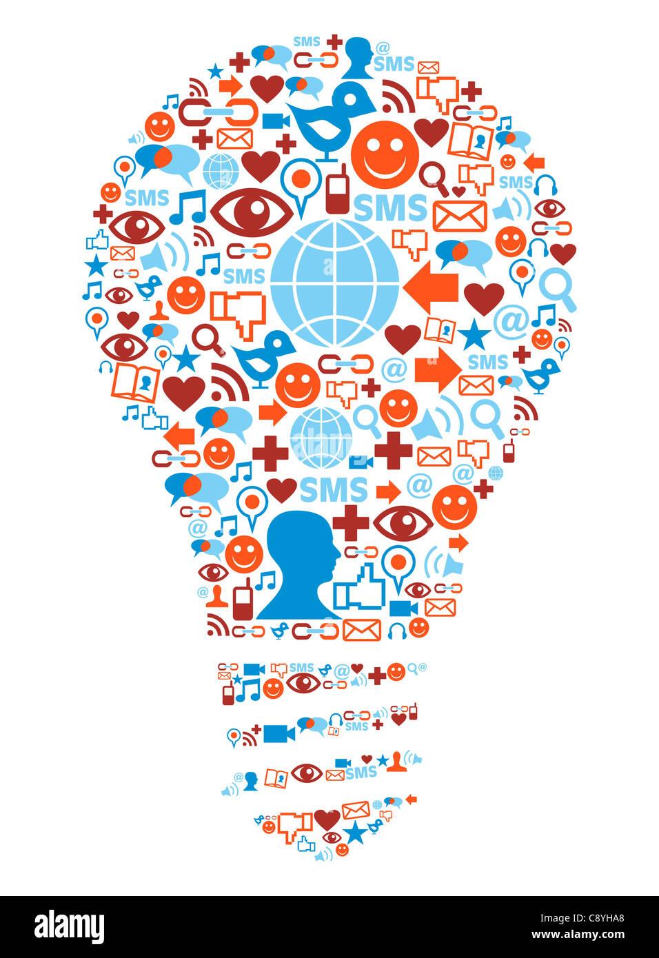 Social media icons set dans l'illustration de la forme de la lampe Banque D'Images