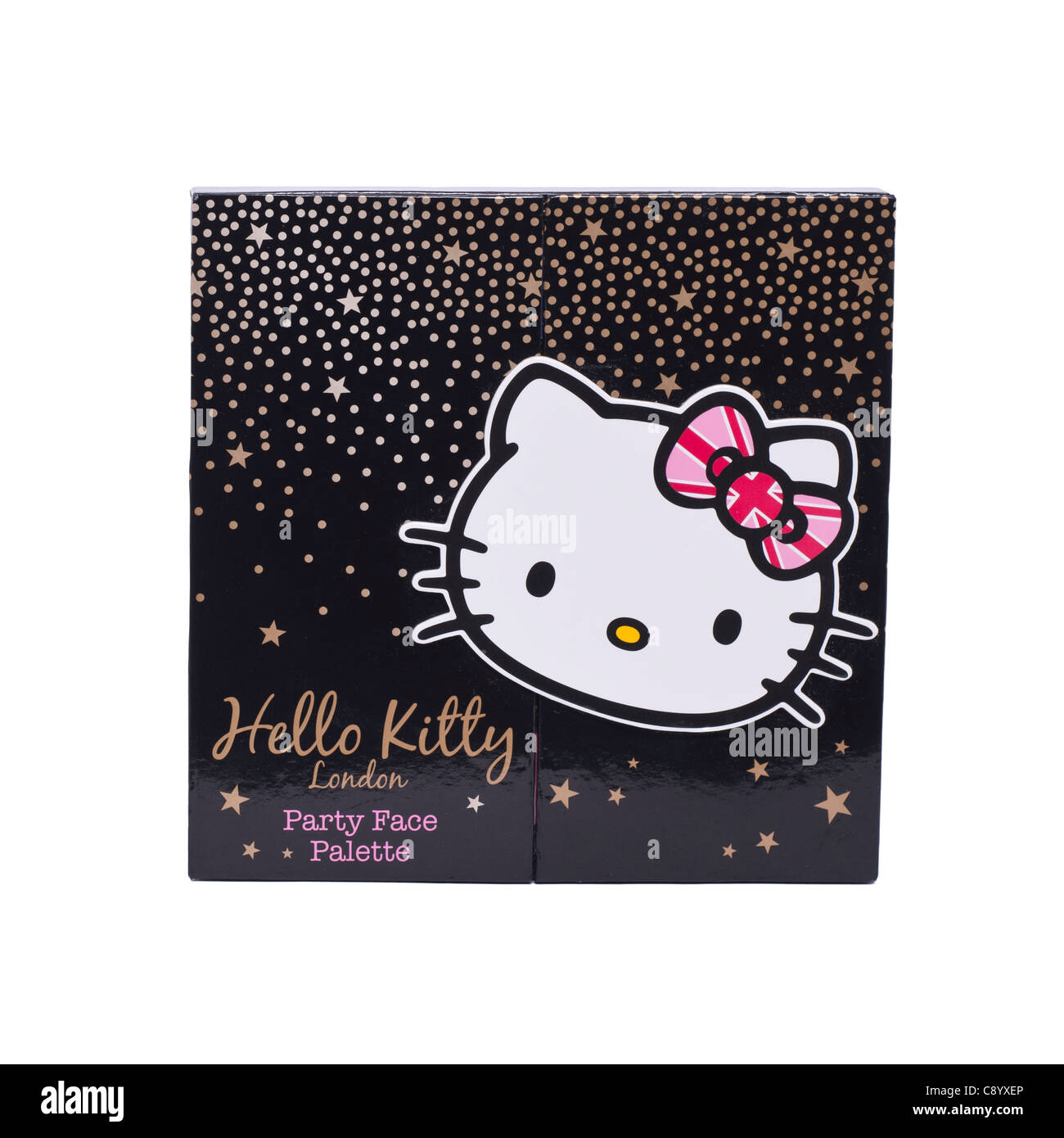 Une palette de maquillage Hello Kitty pour enfants sur un fond blanc Photo Stock