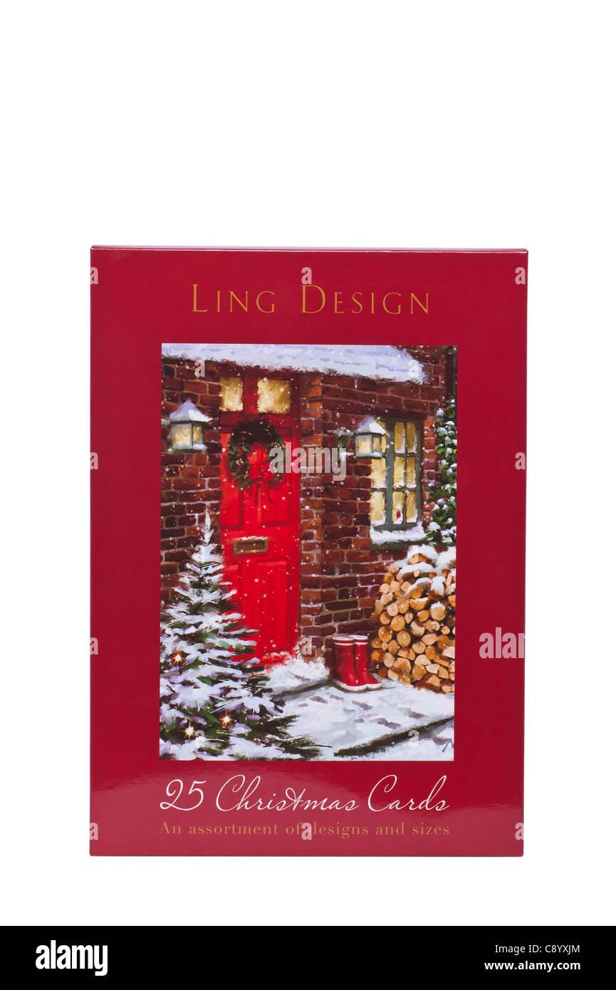 Une boîte de cartes de Noël assorties Design ling sur fond blanc Photo Stock