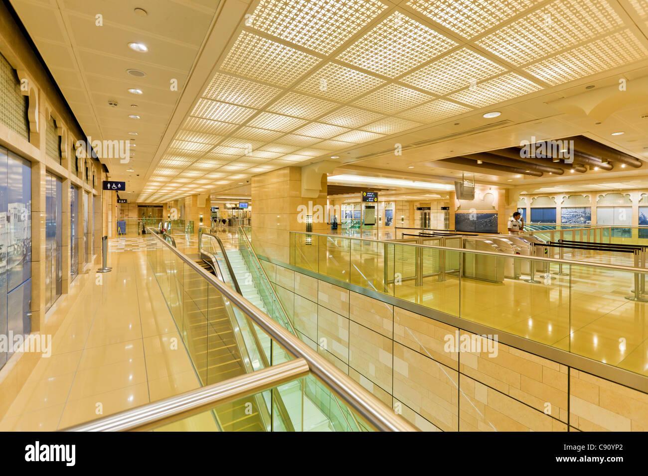 La station de métro Al Ras intérieur, Dubai, Émirats arabes unis, ÉMIRATS ARABES UNIS, Moyen Photo Stock