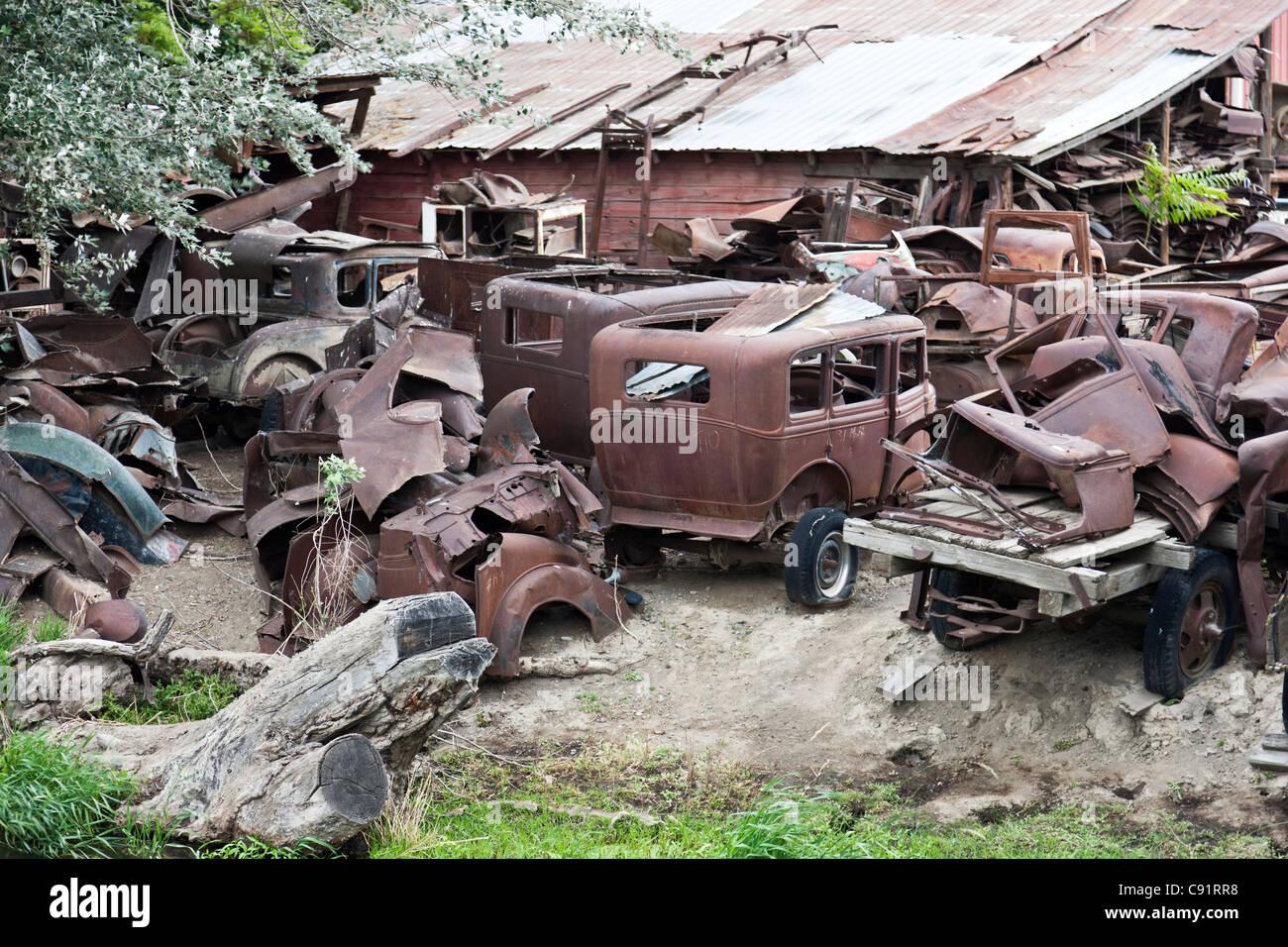 Les véhicules classiques, cimetière. Photo Stock