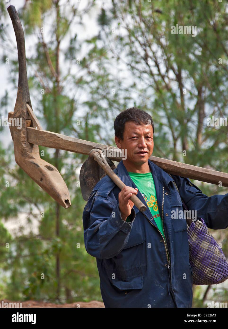 Un agriculteur transporte sa charrue en bois à sa ferme de la fertile vallée de Punakha. Photo Stock