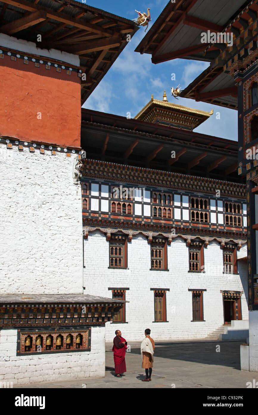 Des bâtiments monastiques dans Trashi Chhoe Dzong Photo Stock