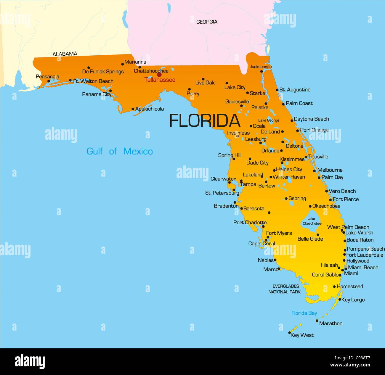 Carte Floride.Vector Carte Des Couleurs De L Etat De Floride Usa Banque D