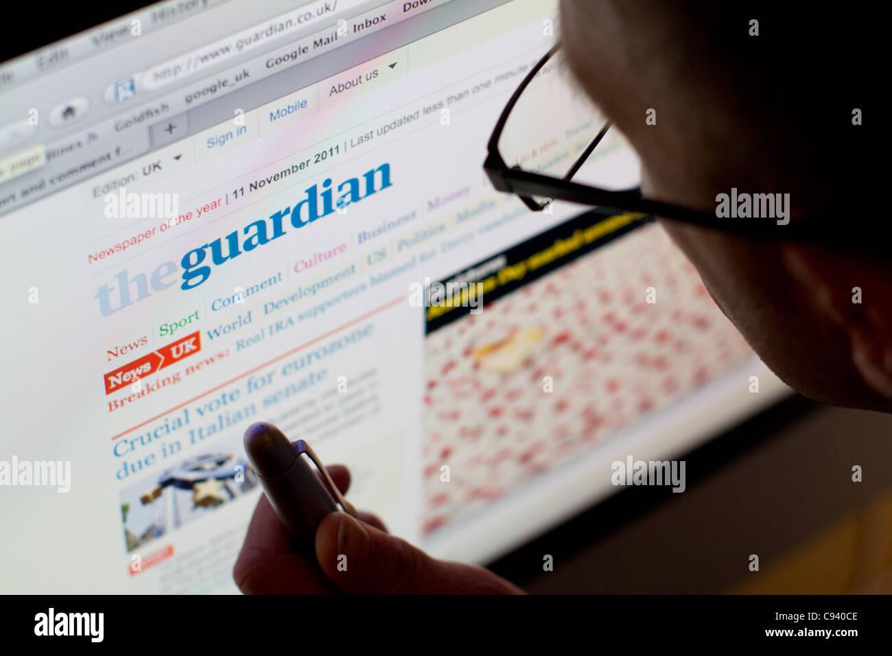 Site internet de la société britannique Guardian newspaper Photo Stock