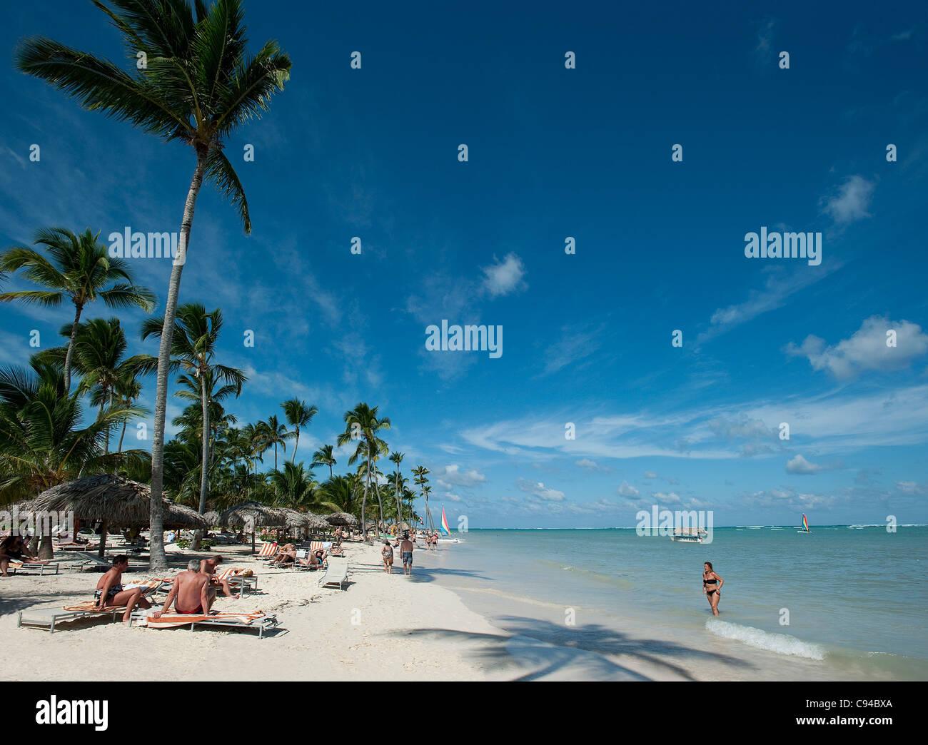 La plage de Bavaro à Catalonia Royal Bavaro Hotel, Punta Cana, République Dominicaine Photo Stock