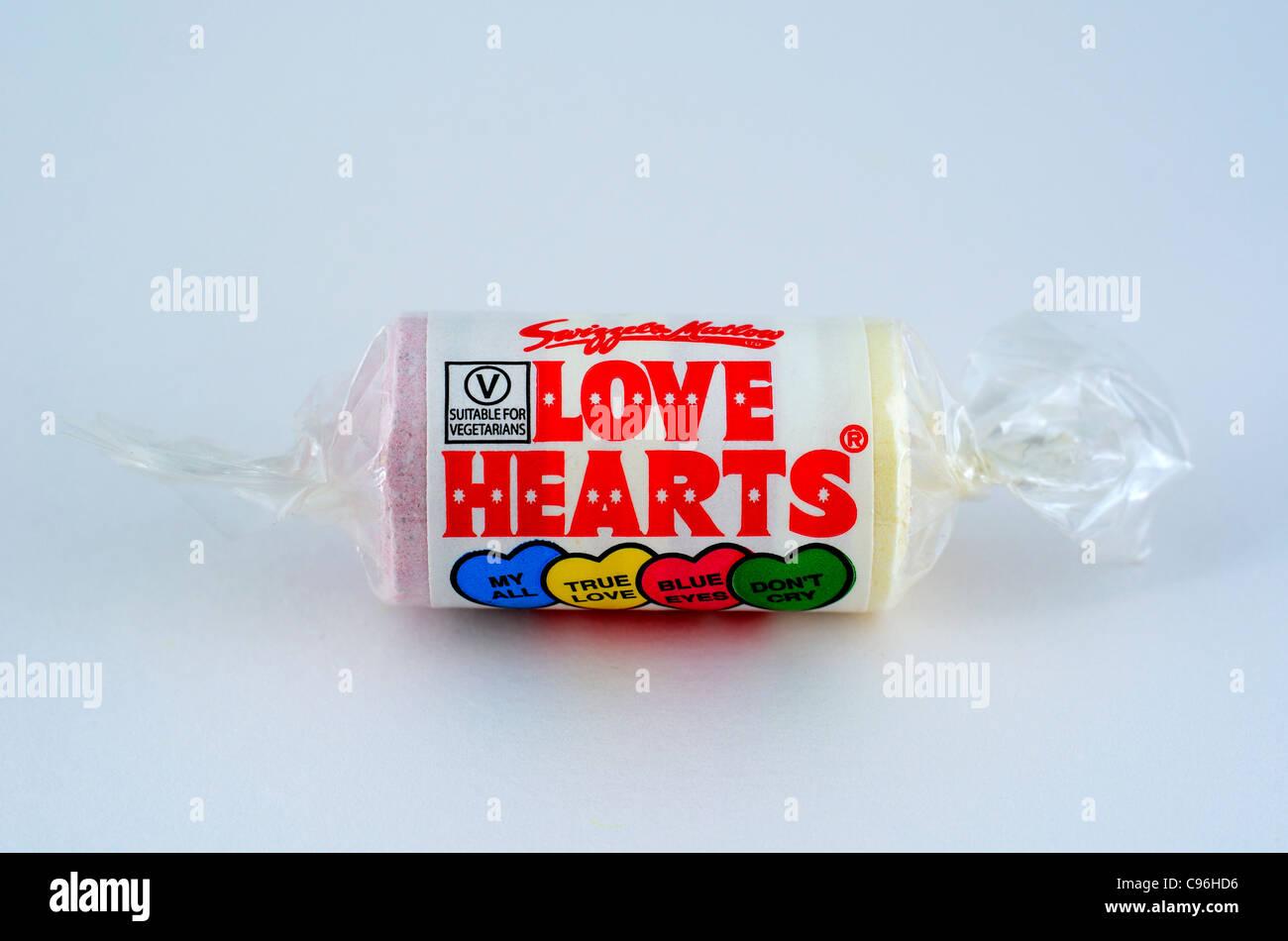 Un rouleau de bonbons coeurs amour ' ' Photo Stock