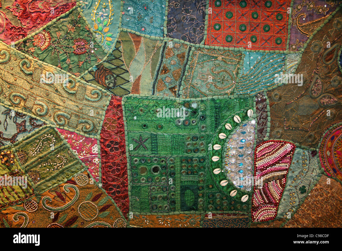 Tissu Patchwork indien Photo Stock