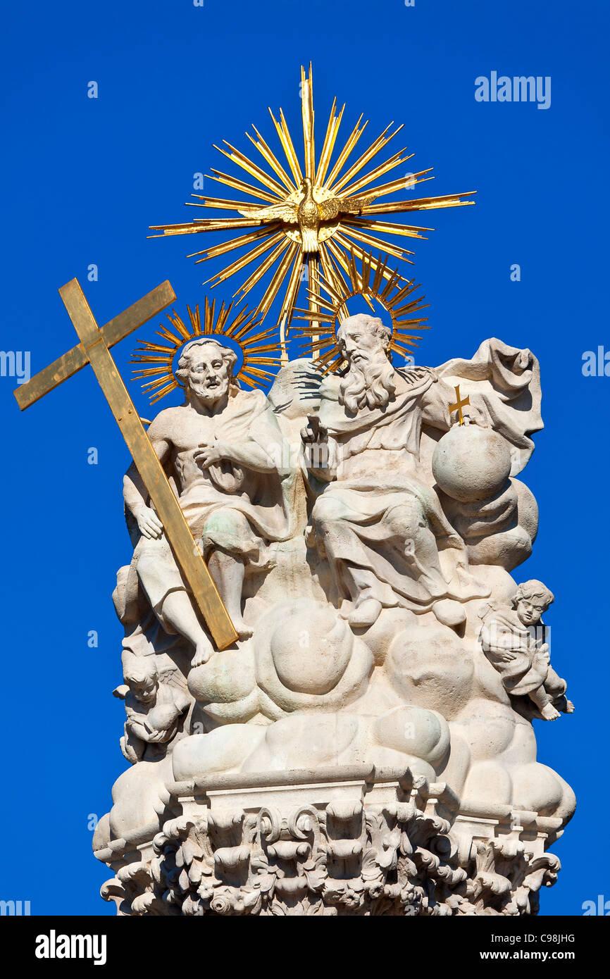 Budapest, Détail de la colonne de la Sainte Trinité situé dans la place de la Trinité Photo Stock