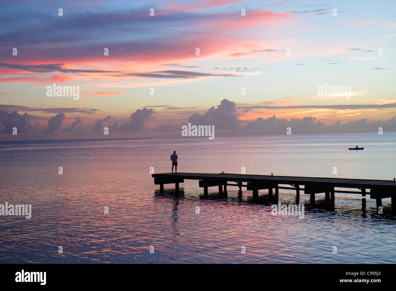 Curaçao, Antilles néerlandaises petit Leeward, îles ABC, Néerlandais, Piscadera Bay, Mer des Caraïbes, eau, jetée, Banque D'Images