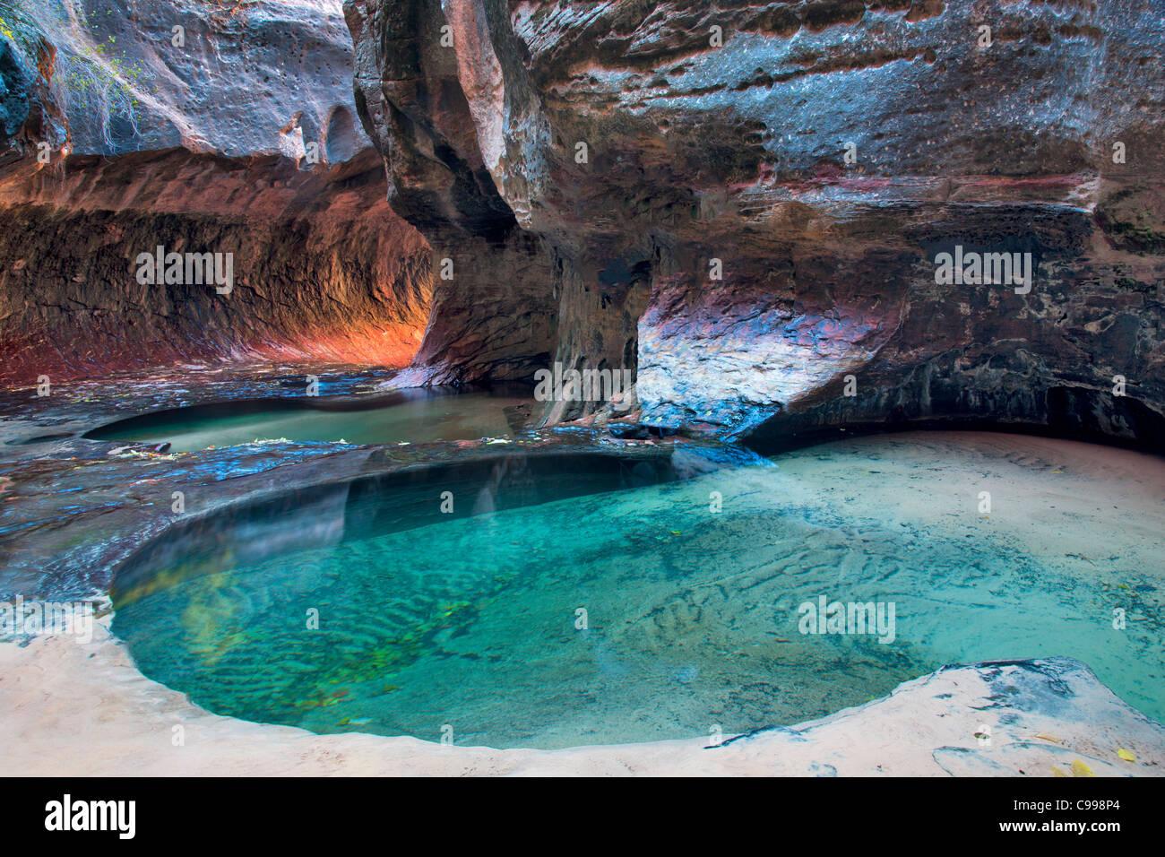 Le métro. Fourche gauche Ruisseau du Nord. Zion National Park, Utah. Photo Stock