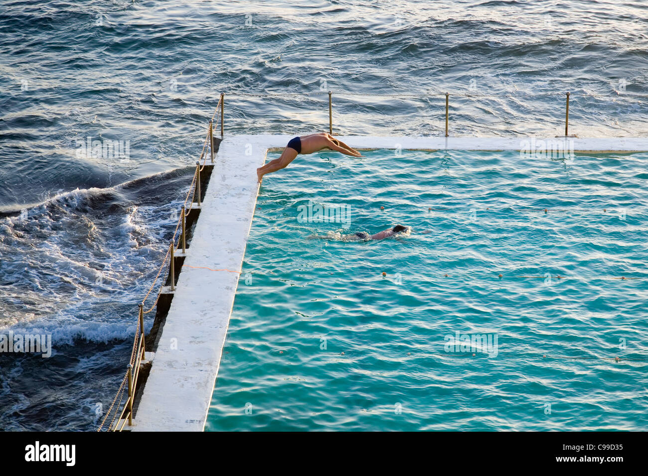 Tôt le matin, les nageurs à l'Icebergs de Bondi extérieure également connu sous le nom de thermes de Bondi. Bondi Banque D'Images