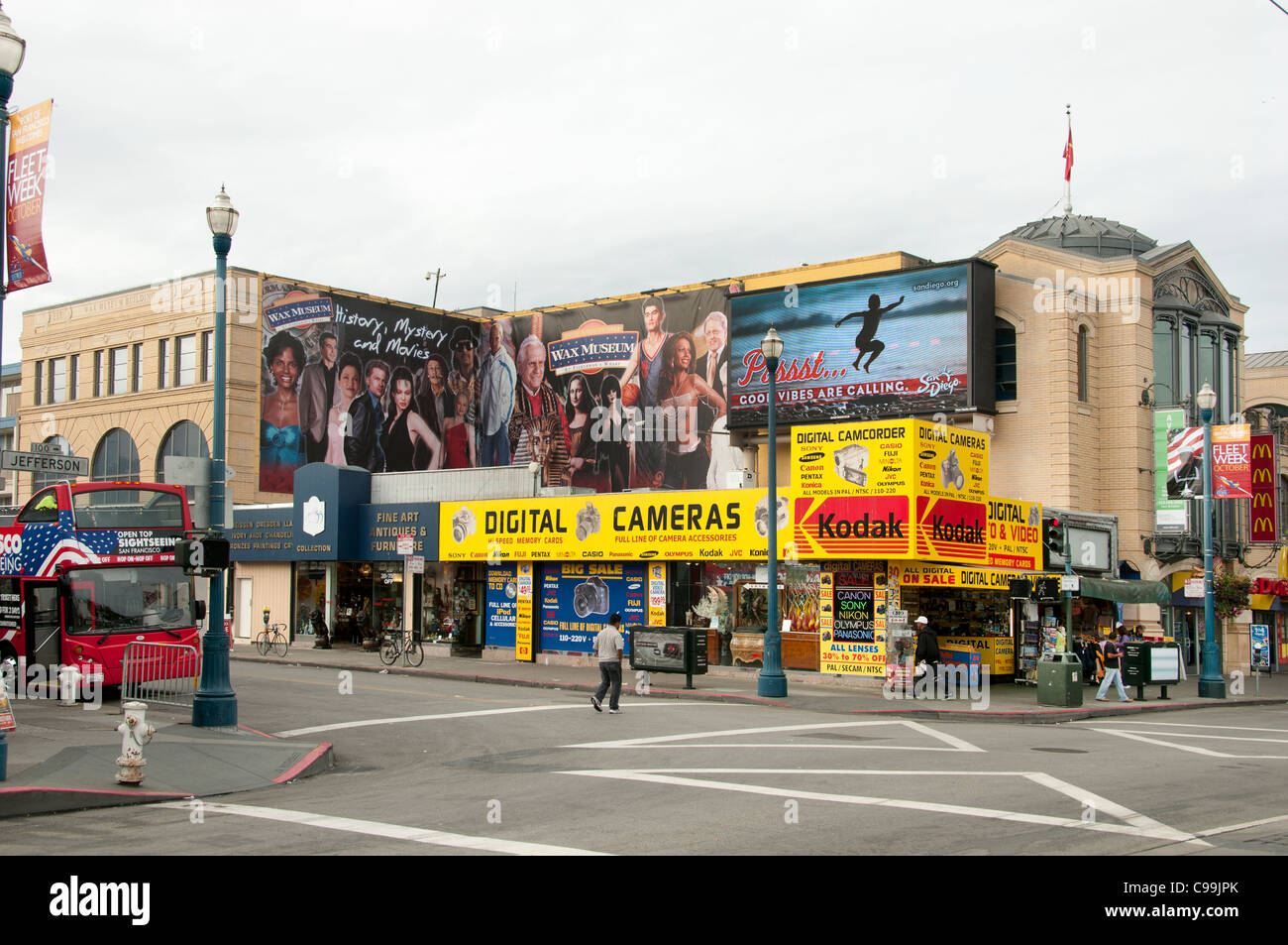 LCamera Kodak Appareils photo numérique Panneau Fishermans Fisherman's Wharf San Francisco California United Photo Stock