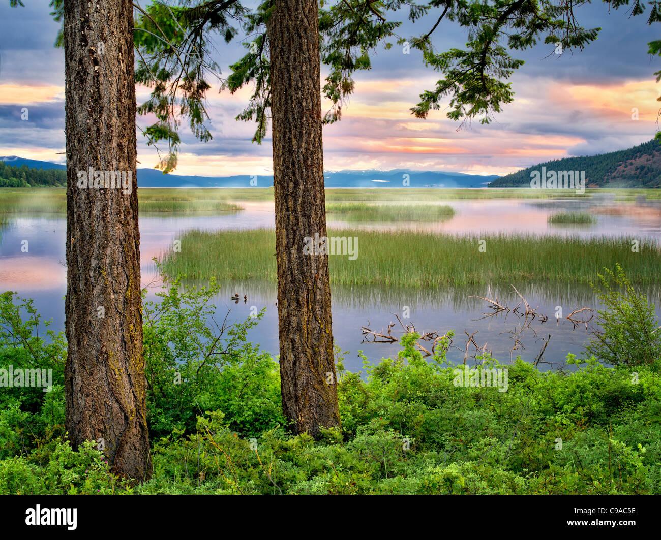 De Shoalwater Bay Lac Klamath supérieur au lever du soleil. Oregon Photo Stock