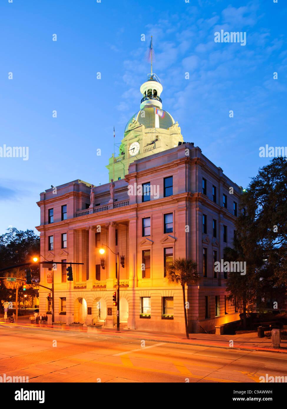 L'hôtel de ville, Savannah Photo Stock