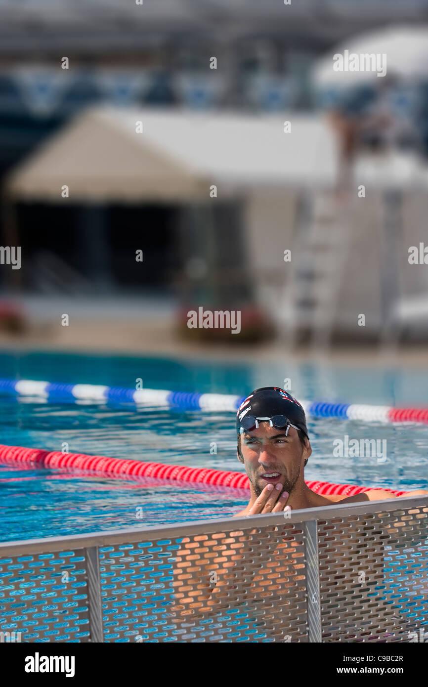 Le nageur américain Michael Phelps, dans une session de formation de Vichy avec les Jeux Olympiques de 2012 Photo Stock