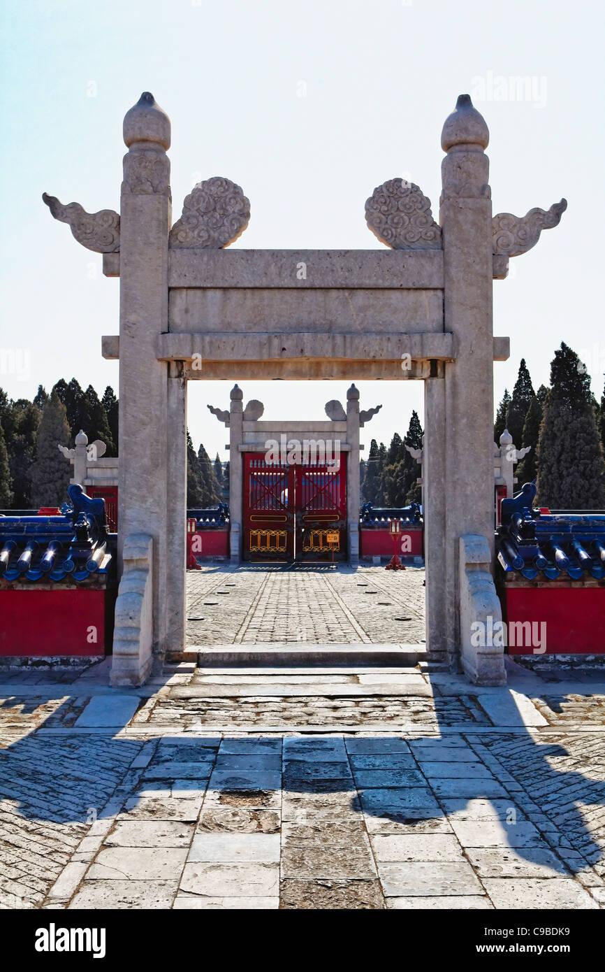 Portes ornementales du Temple du Ciel, Beijing Chine Photo Stock