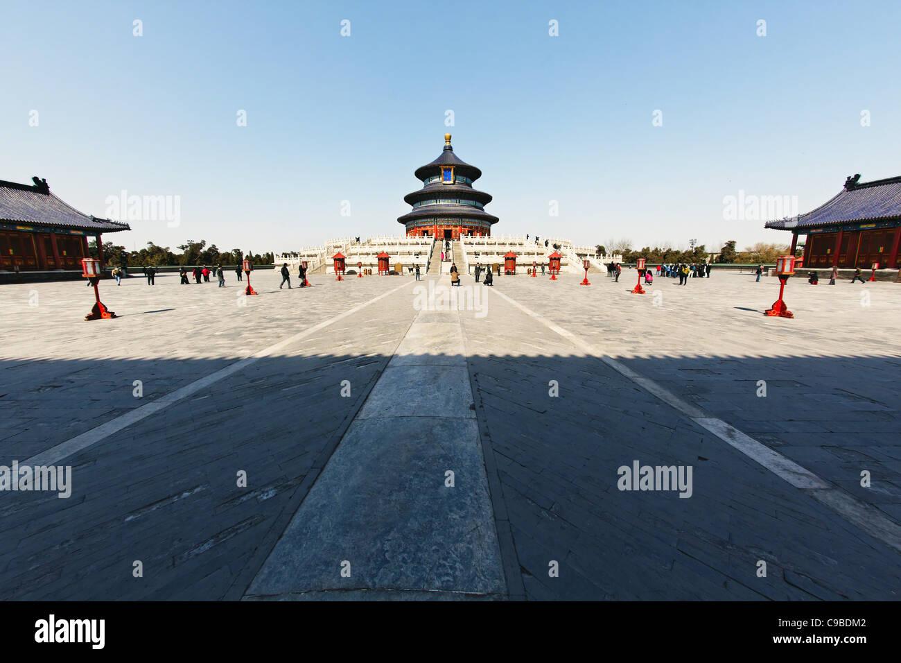 La place intérieure avec la salle de prière pour les bonnes récoltes , Temple du Ciel, Beijing, Chine Photo Stock