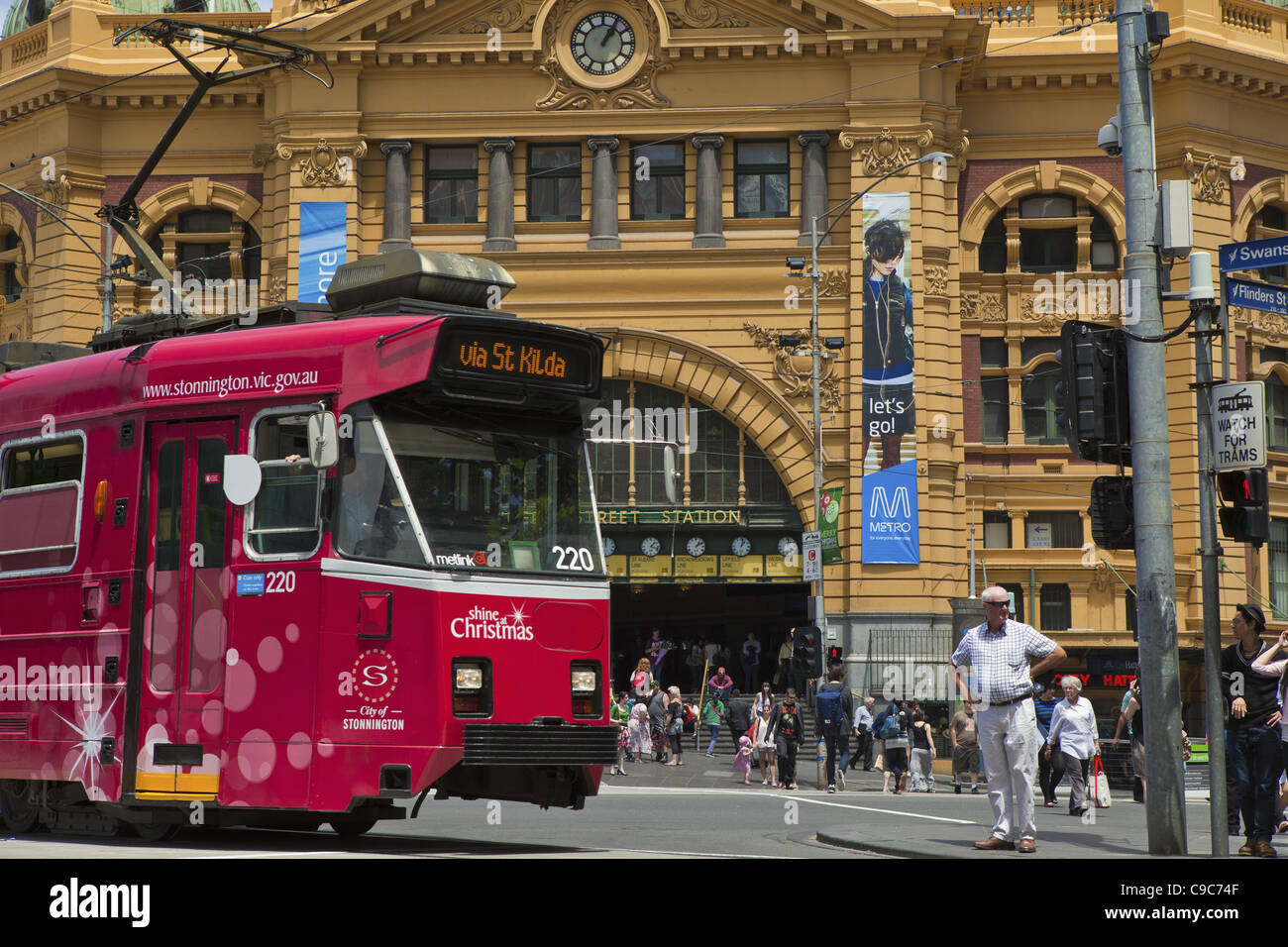 La gare de Flinders Street, Melbourne City transport public sur Finders street Banque D'Images