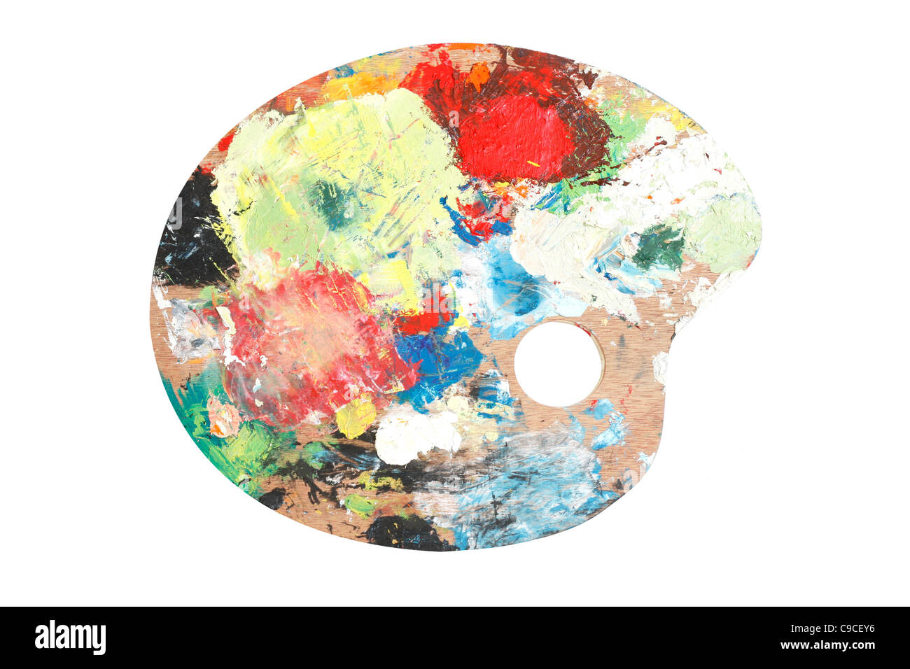 Un painters palette isolated on white Photo Stock