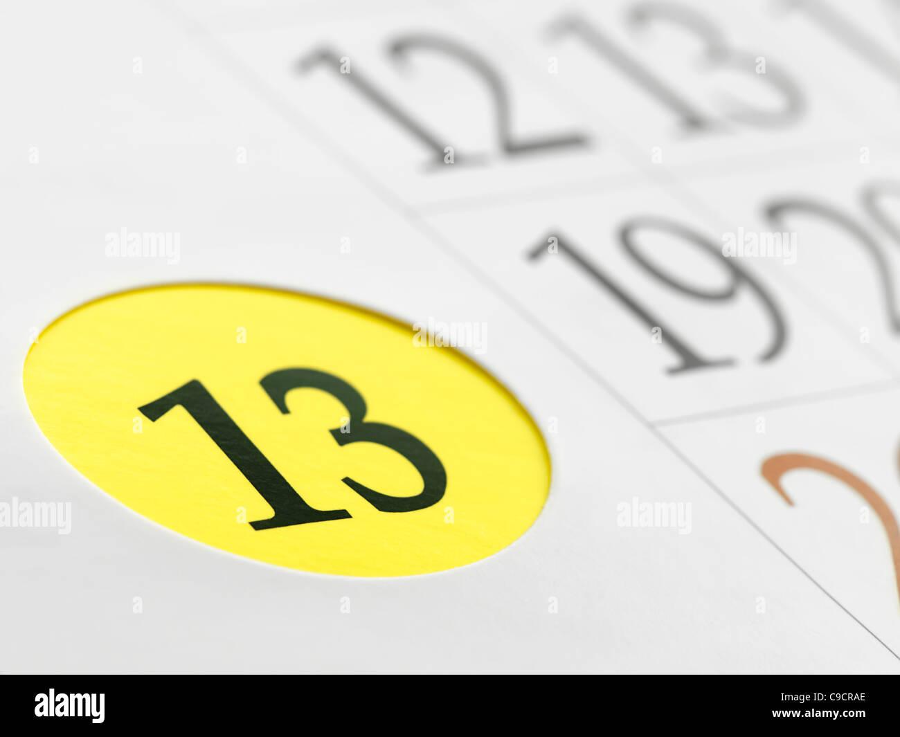 Treize jours sur le calendrier,DOF, peu profondes pour la mauvaise chance,thèmes superstition Photo Stock