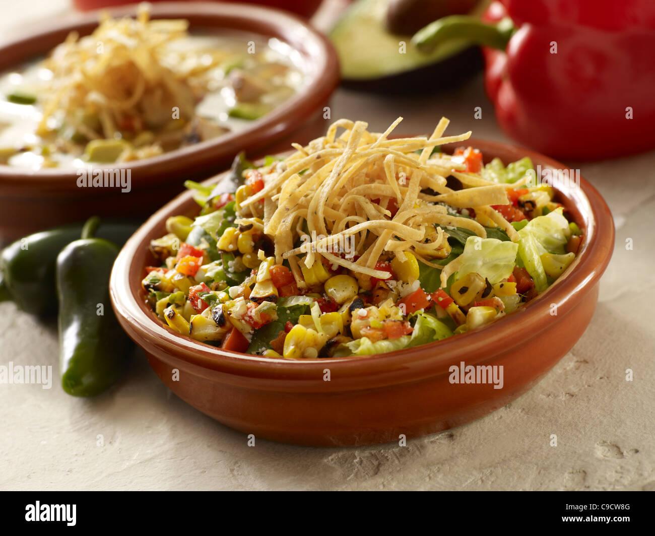 Légumes grillés salade de laitue garnie de bandes de tortillas et un bol de soupe Photo Stock