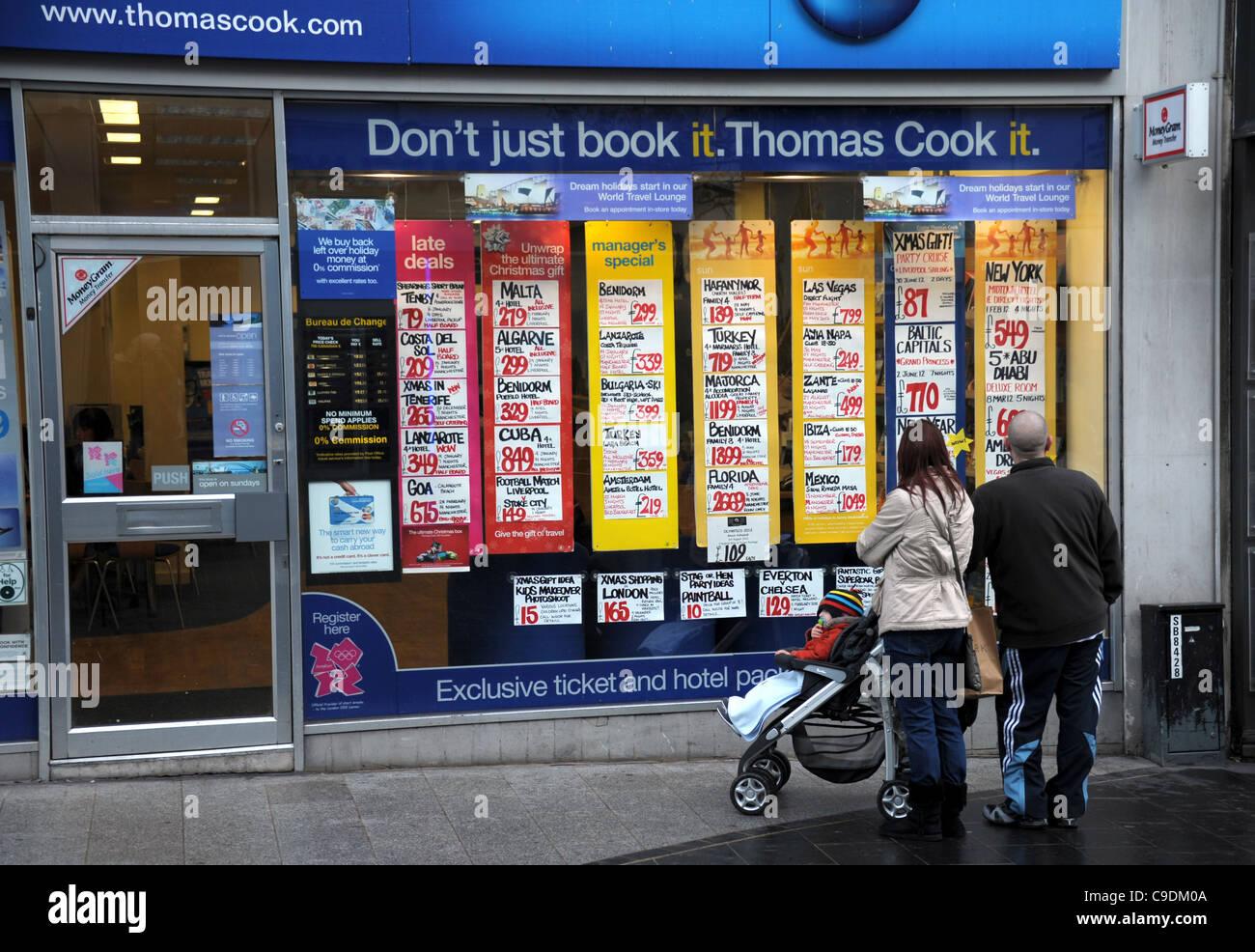 Les agents de voyages Thomas Cook shop, la Grande-Bretagne, Royaume-Uni Photo Stock