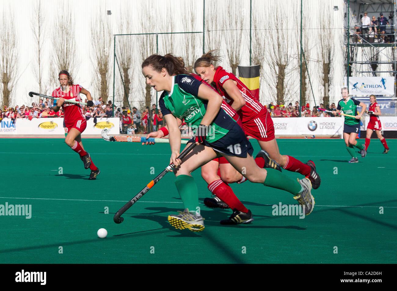 25.03.2012 - Kontich, Belgique - Photo de la finale du tournoi de qualification olympique de hockey femmes entre Photo Stock