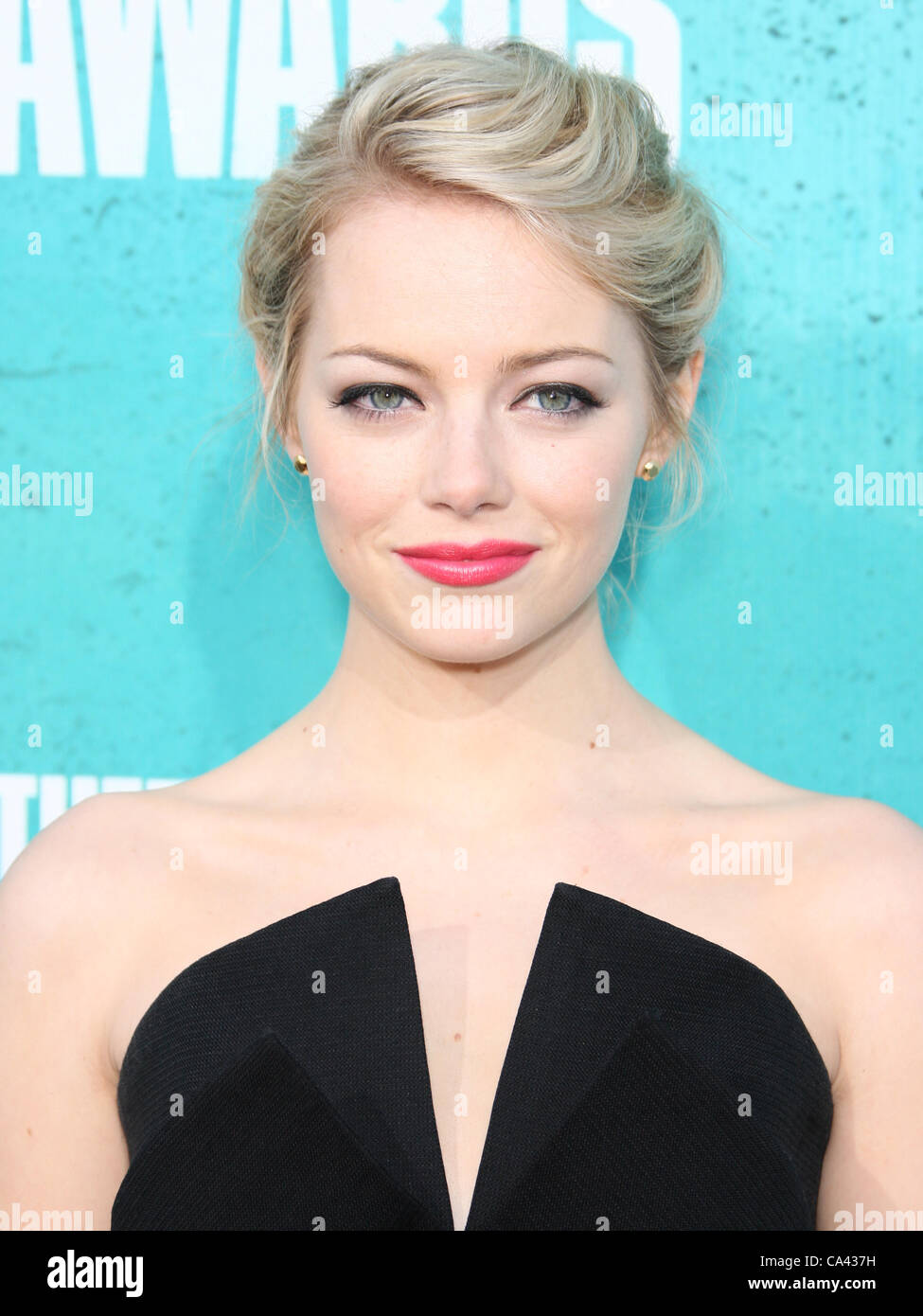 EMMA STONE LE MTV Movie Awards 2012. Arrivants LOS ANGELES CALIFORNIA USA 03 Juin 2012 Photo Stock