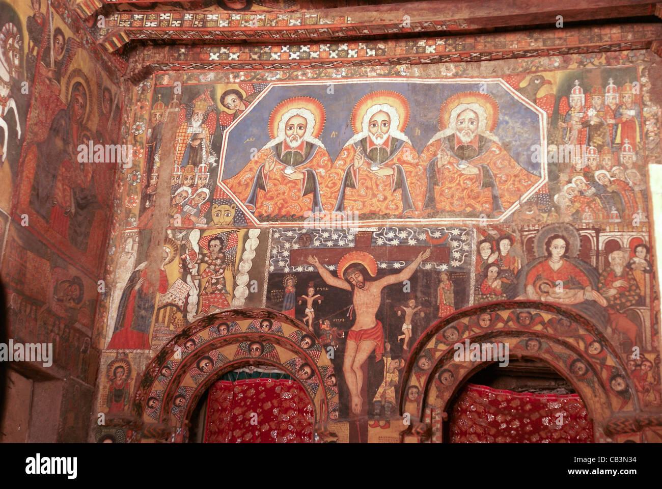 L'Afrique, l'Ethiopie, Gondar plafond peint dans l'église de Debre Birhan Sélassié d'art religieux Banque D'Images