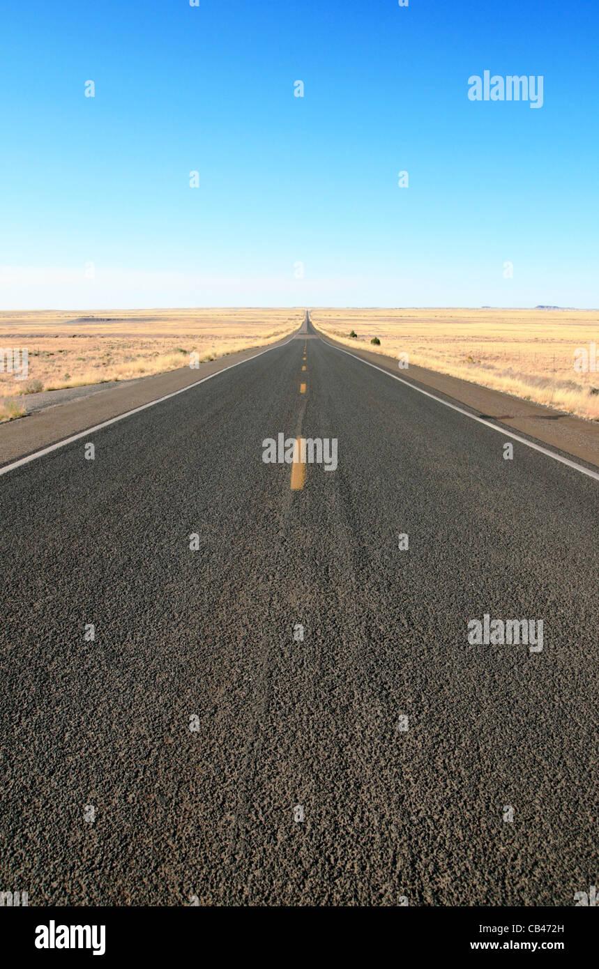 La route 180 dans le Nord de l'Arizona coupe directement à travers le parc à l'horizon sous un Photo Stock