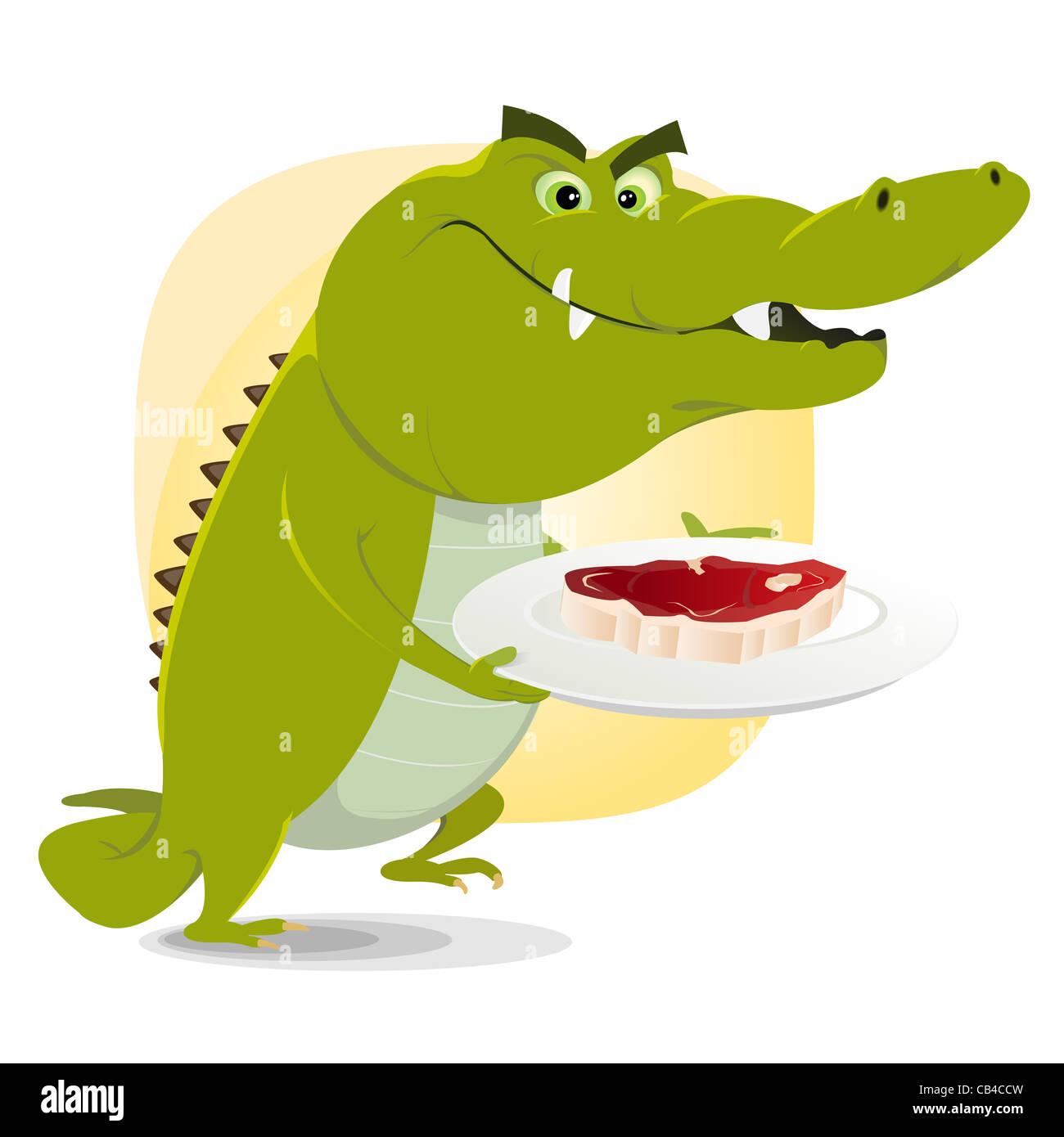 Illustration d 39 un crocodile dessin anim sur le point de manger un gros steak banque d 39 images - Dessin anime les crocodiles ...