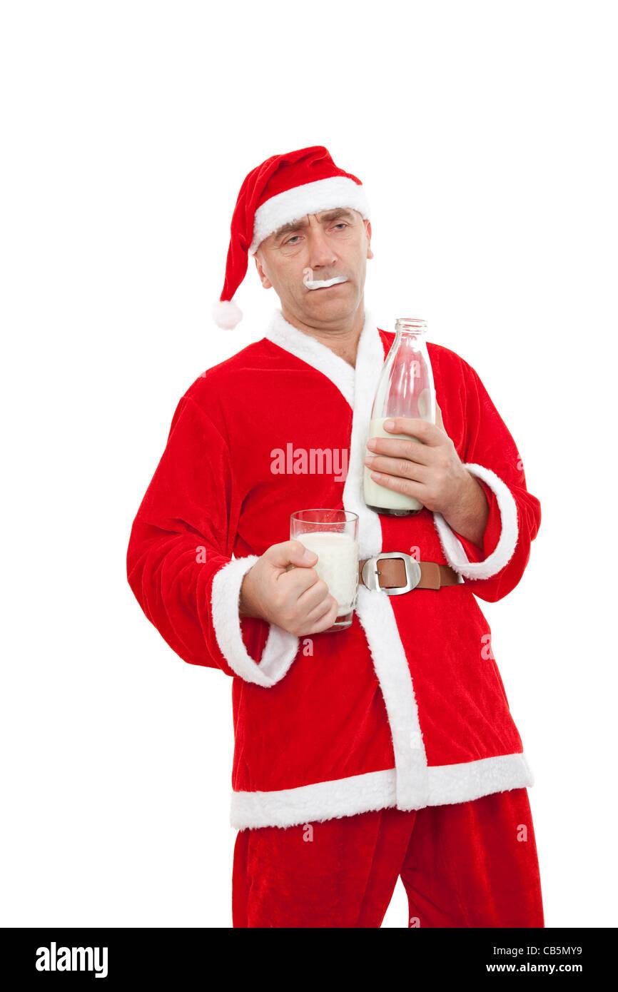 Drunken avec déguisement Père Noël sur fond blanc Photo Stock