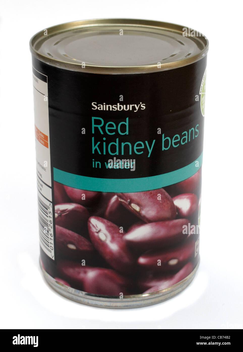 Tin de Sainsbury's propre marque des haricots rouges dans l'eau des aliments en conserve Banque D'Images