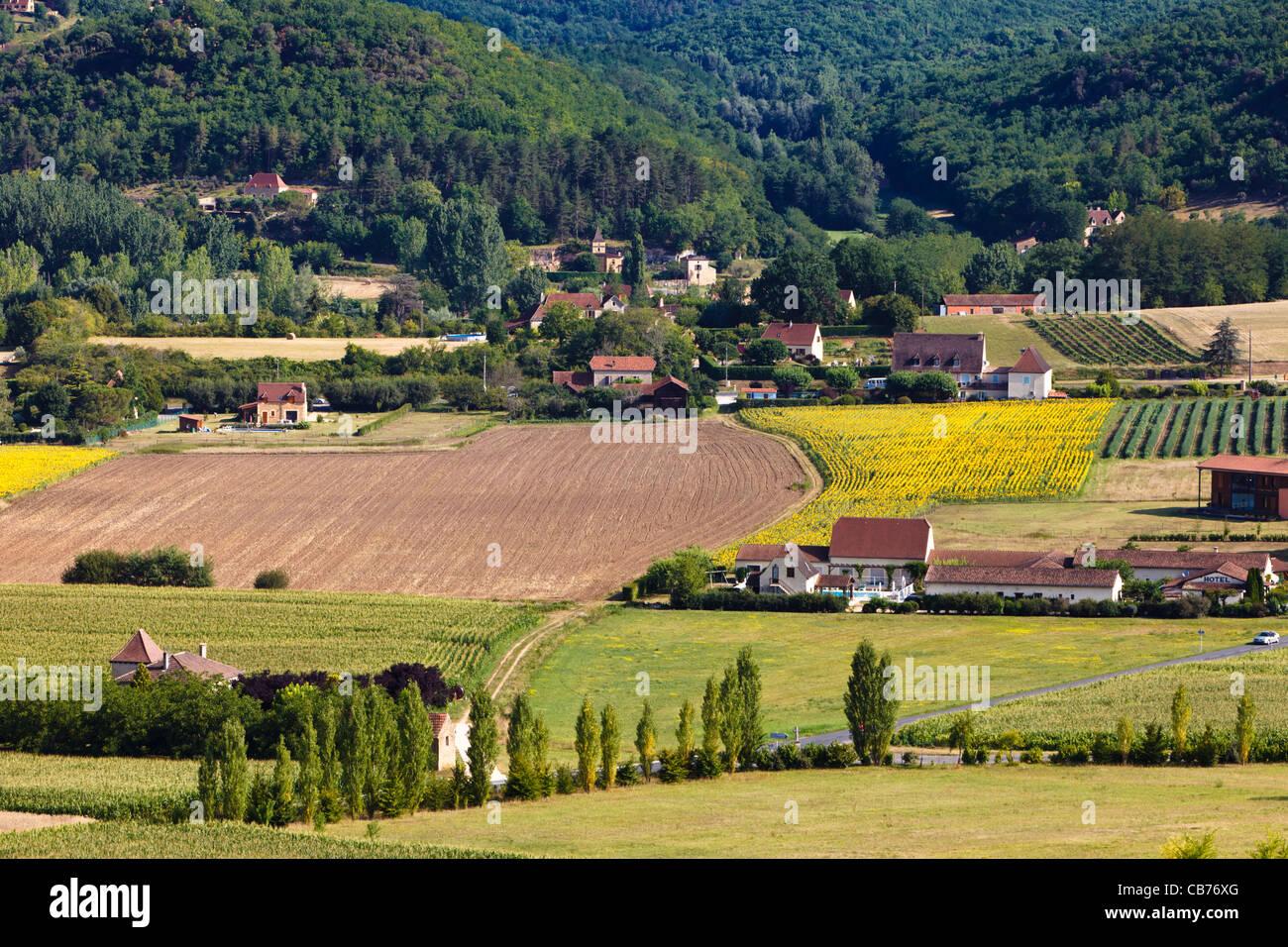 Sur les terres agricoles en Dordogne, France, Europe Photo Stock